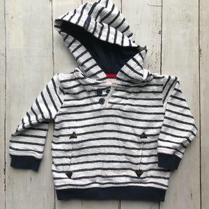 Koala Kids Navy Stripe Baby Boy Hooded Sweatshirt